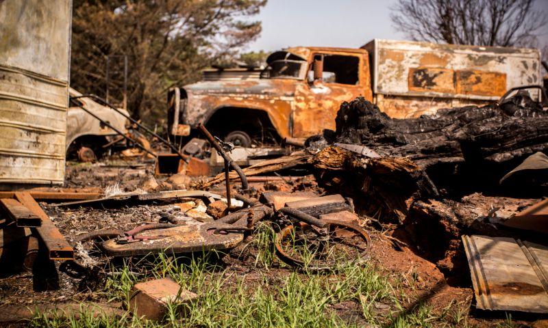 Truck destroyed by bushfire