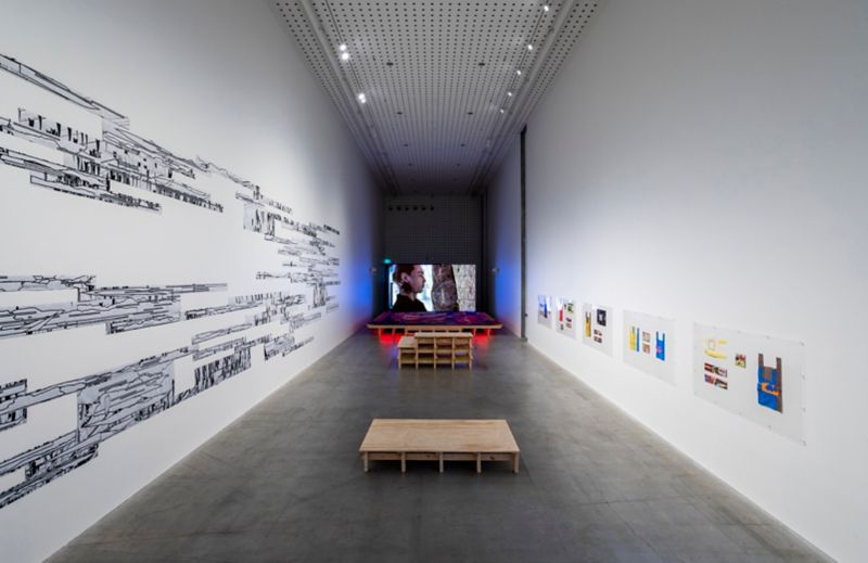 Exhibition view, Metahaven: Field Report at RMIT Design Hub Gallery. Photography by Tobias Titz