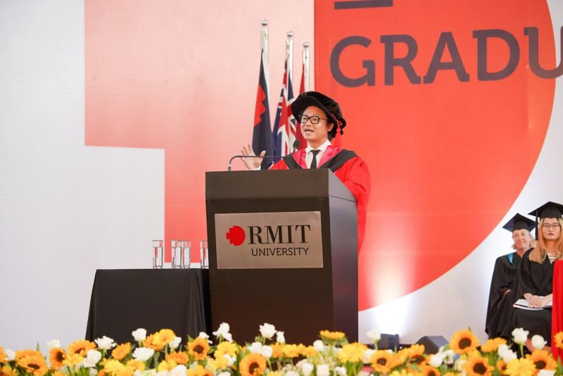 Vietnamese-Australian chef and restaurateur Luke Nguyen was presented with an RMIT University Honorary Doctorate – Doctor of Communication honoris causa - at the ceremony for his distinguished contributions to the wider community.