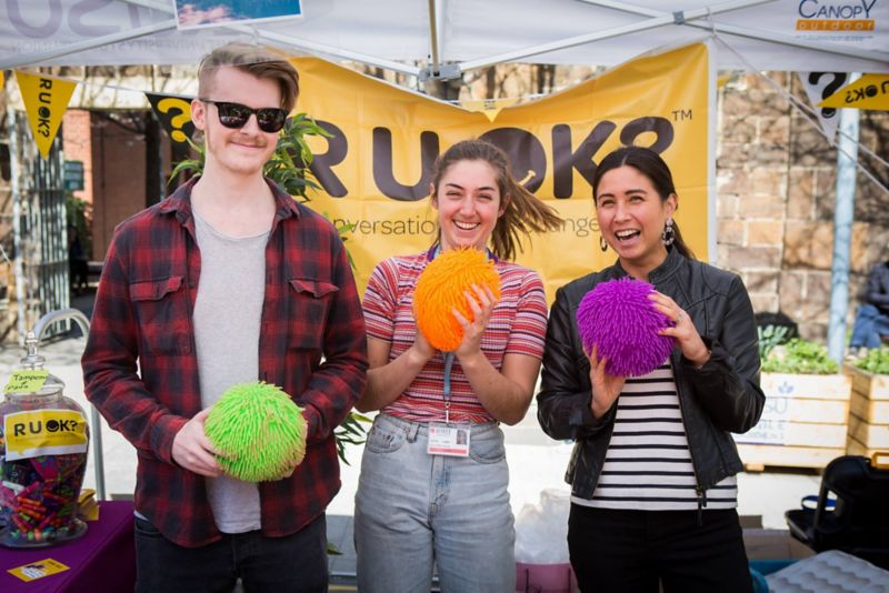 RMIT students at an R U OK? day event