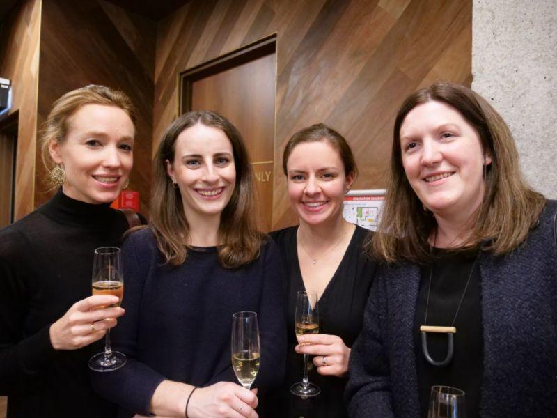 Startup celebration with wine.