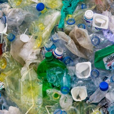 Plastic bottles and waste.