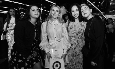 Winning VE Fashion students who worked with Target Australia standing in a group with awards