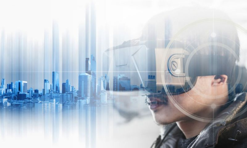 Abstract image of person wearing virtual reality headset