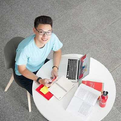 vietnamese student looking up