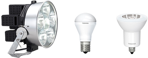 High power LED floodlight (equivalent to a 2 kW metal halide lamp fixture) and GaN*1 power device equipped LED bulb