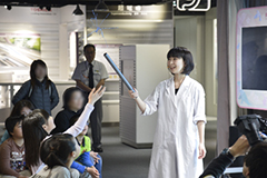 Science show is held every day at the stage